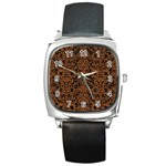 DAMASK2 BLACK MARBLE & RUSTED METAL (R) Square Metal Watch
