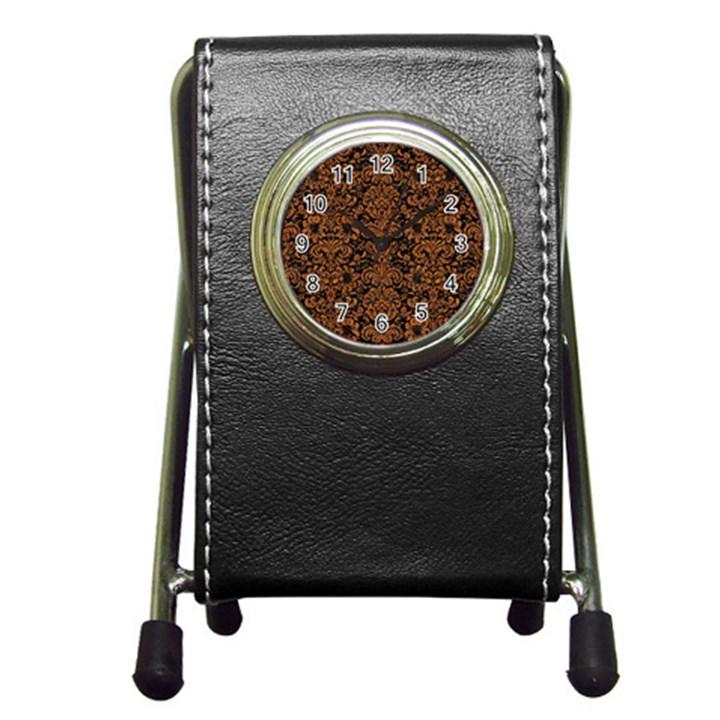 DAMASK2 BLACK MARBLE & RUSTED METAL (R) Pen Holder Desk Clocks
