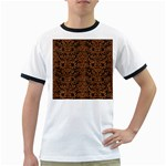 DAMASK2 BLACK MARBLE & RUSTED METAL (R) Ringer T-Shirts