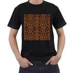 DAMASK2 BLACK MARBLE & RUSTED METAL (R) Men s T-Shirt (Black) (Two Sided) Front