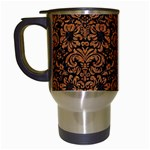 DAMASK2 BLACK MARBLE & RUSTED METAL (R) Travel Mugs (White)