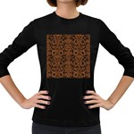 DAMASK2 BLACK MARBLE & RUSTED METAL (R) Women s Long Sleeve Dark T-Shirts