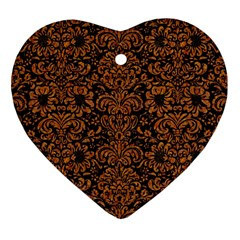 Damask2 Black Marble & Rusted Metal (r) Heart Ornament (two Sides)