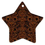 DAMASK2 BLACK MARBLE & RUSTED METAL (R) Star Ornament (Two Sides) Back