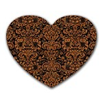 DAMASK2 BLACK MARBLE & RUSTED METAL (R) Heart Mousepads