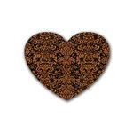 DAMASK2 BLACK MARBLE & RUSTED METAL (R) Rubber Coaster (Heart)