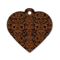 Damask2 Black Marble & Rusted Metal (r) Dog Tag Heart (one Side)