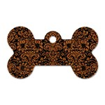 DAMASK2 BLACK MARBLE & RUSTED METAL (R) Dog Tag Bone (Two Sides)