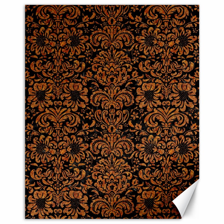 DAMASK2 BLACK MARBLE & RUSTED METAL (R) Canvas 11  x 14