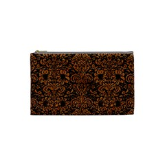 Damask2 Black Marble & Rusted Metal (r) Cosmetic Bag (small)  by trendistuff
