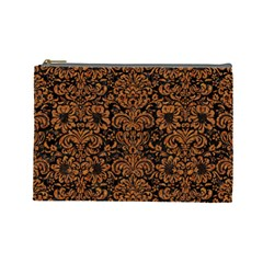 Damask2 Black Marble & Rusted Metal (r) Cosmetic Bag (large)  by trendistuff