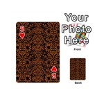 DAMASK2 BLACK MARBLE & RUSTED METAL (R) Playing Cards 54 (Mini)  Front - Heart5