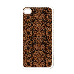 Damask2 Black Marble & Rusted Metal (r) Apple Iphone 4 Case (white) by trendistuff