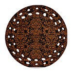 DAMASK2 BLACK MARBLE & RUSTED METAL (R) Ornament (Round Filigree)