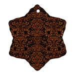 DAMASK2 BLACK MARBLE & RUSTED METAL (R) Ornament (Snowflake)
