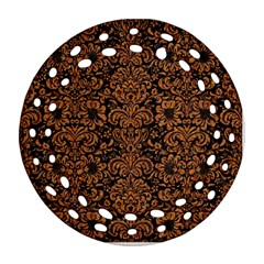 Damask2 Black Marble & Rusted Metal (r) Round Filigree Ornament (two Sides)