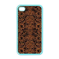 Damask2 Black Marble & Rusted Metal (r) Apple Iphone 4 Case (color)