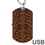 DAMASK2 BLACK MARBLE & RUSTED METAL (R) Dog Tag USB Flash (One Side)