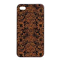 Damask2 Black Marble & Rusted Metal (r) Apple Iphone 4/4s Seamless Case (black) by trendistuff