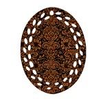 DAMASK2 BLACK MARBLE & RUSTED METAL (R) Oval Filigree Ornament (Two Sides) Back