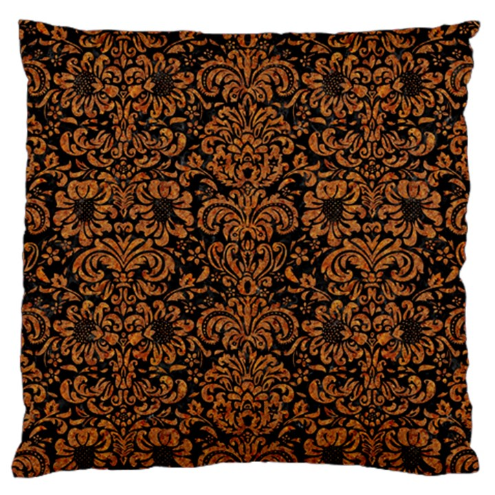 DAMASK2 BLACK MARBLE & RUSTED METAL (R) Large Cushion Case (One Side)