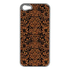 Damask2 Black Marble & Rusted Metal (r) Apple Iphone 5 Case (silver) by trendistuff