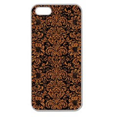 Damask2 Black Marble & Rusted Metal (r) Apple Seamless Iphone 5 Case (clear) by trendistuff