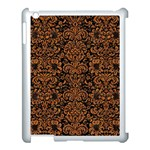 DAMASK2 BLACK MARBLE & RUSTED METAL (R) Apple iPad 3/4 Case (White) Front