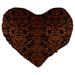 DAMASK2 BLACK MARBLE & RUSTED METAL (R) Large 19  Premium Heart Shape Cushions