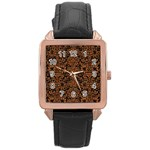 DAMASK2 BLACK MARBLE & RUSTED METAL (R) Rose Gold Leather Watch