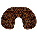 DAMASK2 BLACK MARBLE & RUSTED METAL (R) Travel Neck Pillows Front