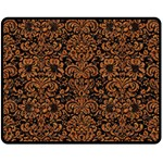 DAMASK2 BLACK MARBLE & RUSTED METAL (R) Double Sided Fleece Blanket (Medium)