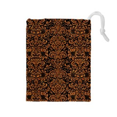 Damask2 Black Marble & Rusted Metal (r) Drawstring Pouches (large)  by trendistuff