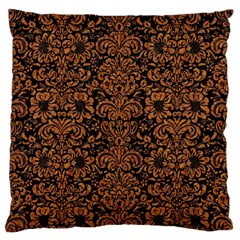 Damask2 Black Marble & Rusted Metal (r) Large Flano Cushion Case (one Side) by trendistuff