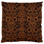 DAMASK2 BLACK MARBLE & RUSTED METAL (R) Large Flano Cushion Case (Two Sides)