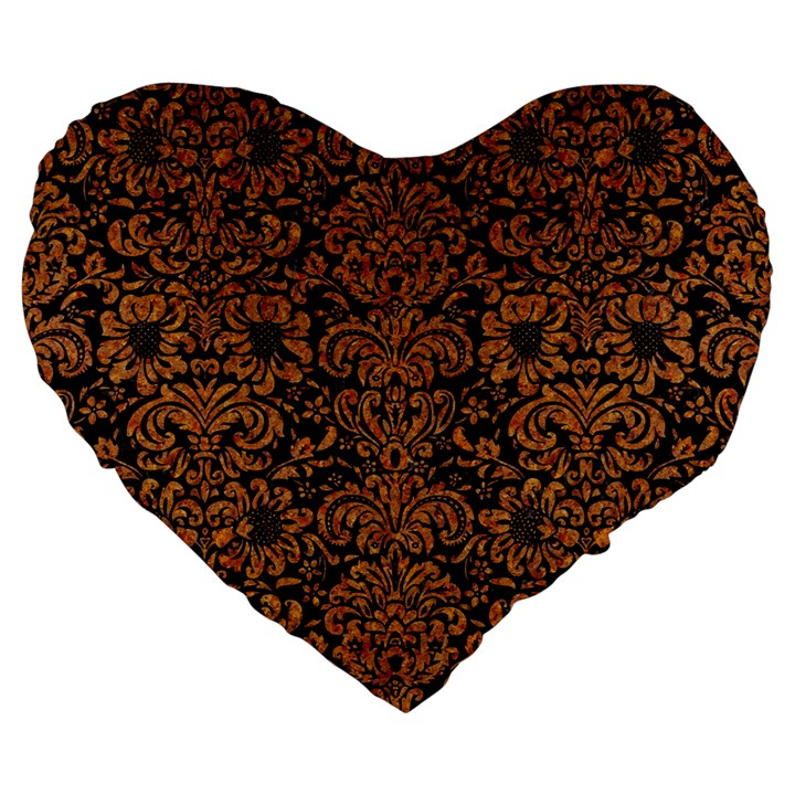 DAMASK2 BLACK MARBLE & RUSTED METAL (R) Large 19  Premium Flano Heart Shape Cushions