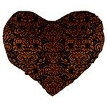 DAMASK2 BLACK MARBLE & RUSTED METAL (R) Large 19  Premium Flano Heart Shape Cushions Back