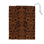 DAMASK2 BLACK MARBLE & RUSTED METAL (R) Drawstring Pouches (Extra Large) Front