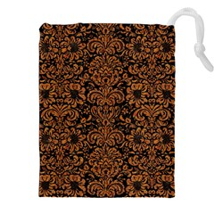Damask2 Black Marble & Rusted Metal (r) Drawstring Pouches (xxl) by trendistuff