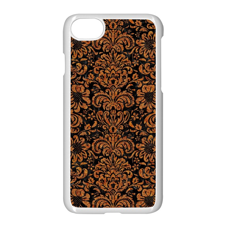 DAMASK2 BLACK MARBLE & RUSTED METAL (R) Apple iPhone 7 Seamless Case (White)