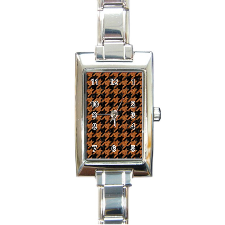 HOUNDSTOOTH1 BLACK MARBLE & RUSTED METAL Rectangle Italian Charm Watch