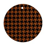HOUNDSTOOTH1 BLACK MARBLE & RUSTED METAL Ornament (Round)