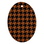 HOUNDSTOOTH1 BLACK MARBLE & RUSTED METAL Ornament (Oval)