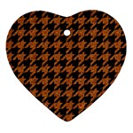 HOUNDSTOOTH1 BLACK MARBLE & RUSTED METAL Ornament (Heart) Front
