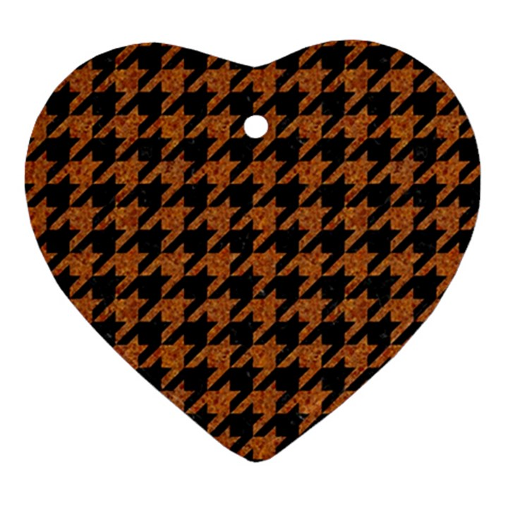 HOUNDSTOOTH1 BLACK MARBLE & RUSTED METAL Ornament (Heart)
