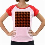 HOUNDSTOOTH1 BLACK MARBLE & RUSTED METAL Women s Cap Sleeve T-Shirt Front