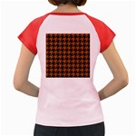 HOUNDSTOOTH1 BLACK MARBLE & RUSTED METAL Women s Cap Sleeve T-Shirt Back