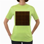 HOUNDSTOOTH1 BLACK MARBLE & RUSTED METAL Women s Green T-Shirt