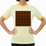 HOUNDSTOOTH1 BLACK MARBLE & RUSTED METAL Women s Fitted Ringer T-Shirts