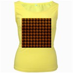 HOUNDSTOOTH1 BLACK MARBLE & RUSTED METAL Women s Yellow Tank Top